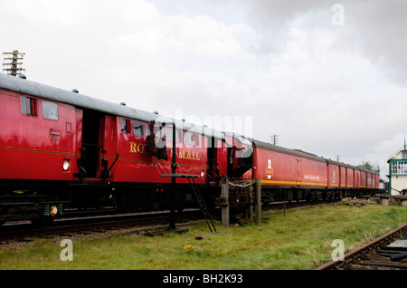 steam hauled travelling post office,great central railway, leicestershire, england - Stock Photo