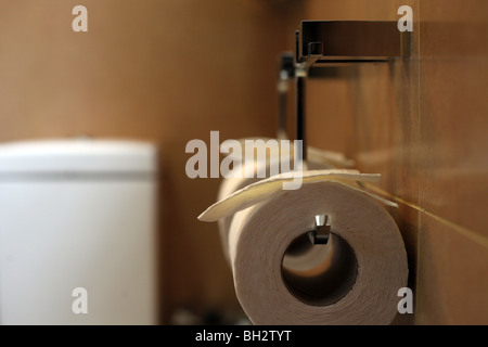 Toilet roll on a chrome holder in a hotel bathroom - Stock Photo