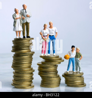 Family (Figurines) on money - finances / inheritance / budgeting / savings concept - Stock Photo