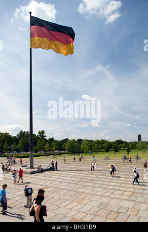German fag in the Square of the Republic, in front of the Reichstag, Berlin, Germany - Stock Photo