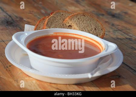 Goulash soup in skiing resort Davos, Switzerland - Stock Photo