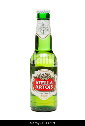Stella Artois beer bottle cut out on white background - Stock Photo