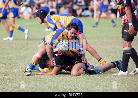 A rugby game on Rarotonga in The Cook Islands - Stock Photo