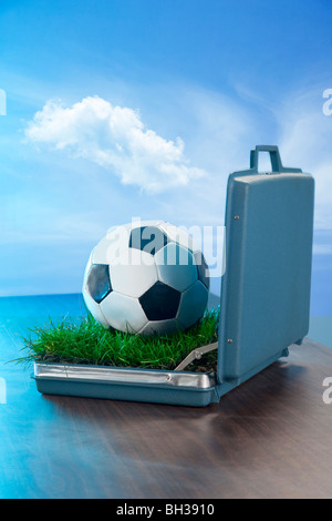 open briefcase on desk with soccer ball and grass inside - Stock Photo