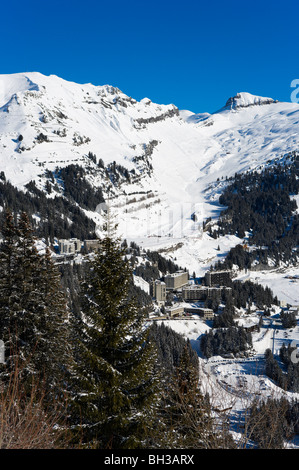 View over the purpose built resort of Flaine, Grand Massif Ski Region, Haute Savoie, France - Stock Photo