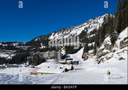 View over the resort of Flaine from beneath the Grandes Platieres Gondola, Grand Massif Ski Region, Haute Savoie, - Stock Photo