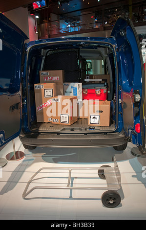 Paris, France, Open Door, Delivery Truck on display in Renault Car Company Showroom, - Stock Photo