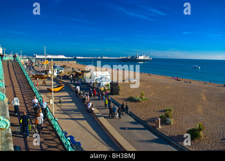 Seafront and King's Road esplanade beach central Brighton England UK Europe - Stock Photo