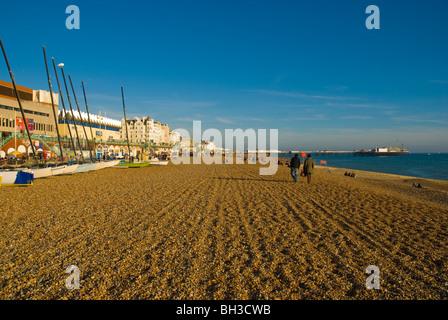 Out of season beach Brighton England UK Europe - Stock Photo