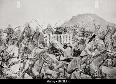 Charge of the 5th Lancers at The Battle of Elandslaagte, 21 October 1899, during the Second Boer War. - Stock Photo