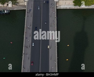 The River Seine seen from the Eiffel Tower, Paris, France, 26th August 2009. - Stock Photo