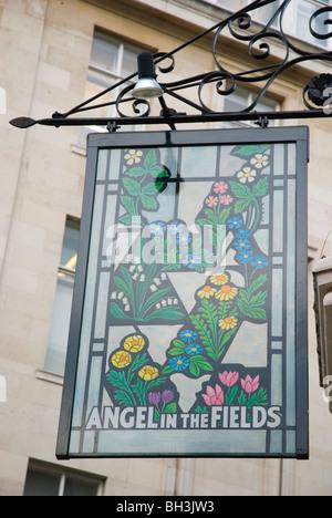 Pub sign Marylebone central London England UK Europe - Stock Photo