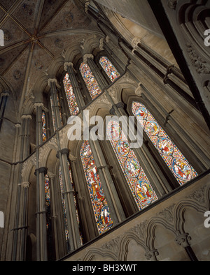 Worcester Cathedral: the east window looking up. Rebuilt 1855-6 as part of the restoration by Sir George Gilbert - Stock Photo