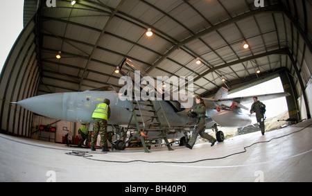 A Quick Reaction Alert (QRA) crew scramble to their aircraft - Stock Photo