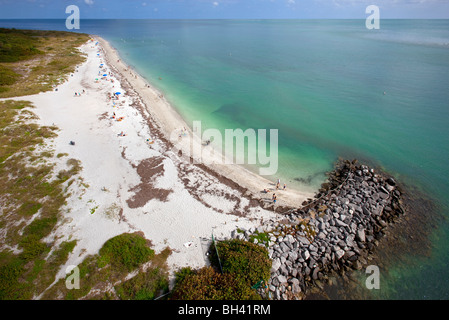 View from Cape Florida Lighthouse, Bill Baggs State Park, Key Biscayne, FL - Stock Photo