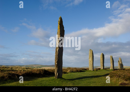 The Ring of Brodgar, a world heritage site, on the mainland of the Orkney Isles, Scotland, 20th October 2008. - Stock Photo