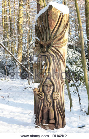 Wood carving - sculpture in St Ives near Bingley West Yorkshire England - Stock Photo