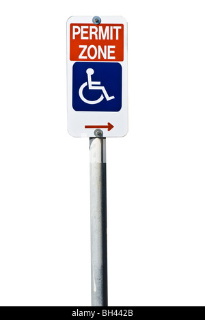 A sign indicating disabled permit parking only isolated on white. - Stock Photo