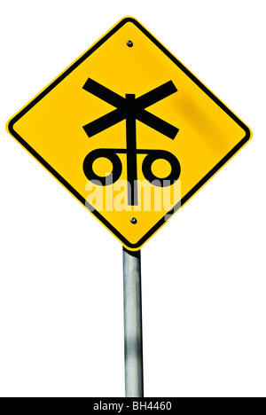 A railway crossing road sign isolated on white. - Stock Photo