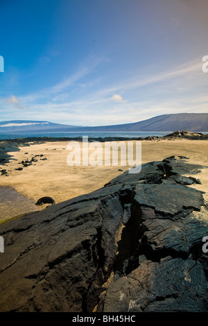 Dramatic lava landscape Fernandina Island westernmost of the Galapagos Islands Ecuador - Stock Photo