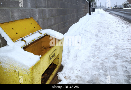 Snow covered and icy streets during uncommonly severe cold weather in the UK during the winter of 2009-2010 and - Stock Photo
