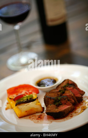 Filet Mignon dish at the upmarket restaurant of Lagarde winery, Lujan de Cuyo, Mendoza, Argentina. - Stock Photo