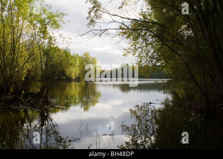 Tranquil lake scene in John Constable country near Flatford Mill. - Stock Photo