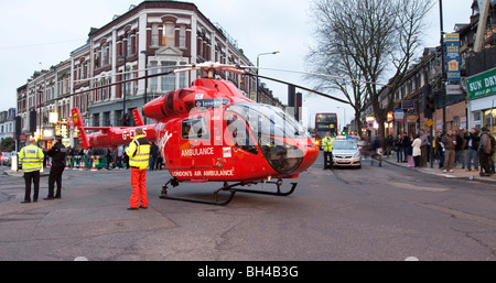 London Air Ambulance - Helicopter Emergency Medical Service (HEMS) - Tufnell Park - London - Stock Photo
