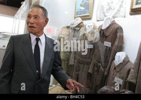 Shigeyoshi Hamazono, 81 years old, 'kamikaze' pilot in the Japanese Special Attack Force during WW2, in Chiran, - Stock Photo