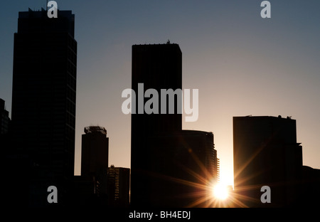 City skyline at dusk, Sydney, NSW, Australia - Stock Photo