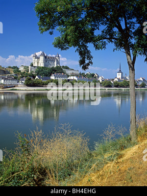 Picturesque view of the town and chateau of Saumur from across the River Loire - Stock Photo