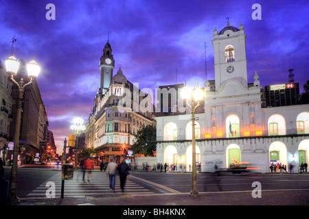 "National Cabildo Facade at ""Plaza de Mayo"" (May Square) at dusk, Buenos Aires, Argentina - Stock Photo"