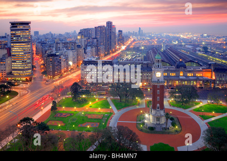 Aerial view of 'Torre Monumental' (Monumental tower) and Retiro neighborhood, at dusk. Buenos Aires, Argentina, - Stock Photo