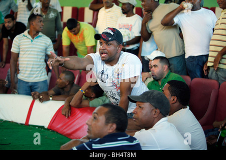 Men bet amongst each other with signals and gestures at a cockfighting ring, Dominican Republic - Stock Photo
