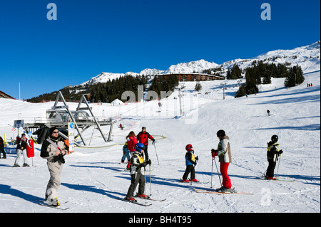 Bottom of the Chantel chair lift in the resort centre, Arc 1800, Les Arcs, Tarentaise, Savoie, France - Stock Photo