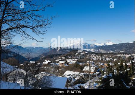 View over the resort of Les Carroz d'Araches, near Flaine, Grand Massif Ski Region, Haute Savoie, France - Stock Photo