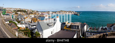 A panoramic view of the popular seaside resort of St Ives, Cornwall - Stock Photo