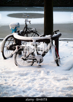Chained up snow covered bicycles in front of frozen over canal, Amsterdam - Stock Photo