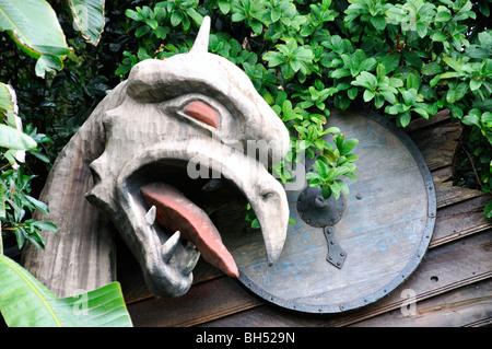 Epcot Center, Disneyland, Orlando, Florida, USA, wooden dragon head - Stock Photo