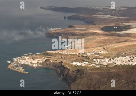 View towards Agaete harbour from Roque Faneque. - Stock Photo