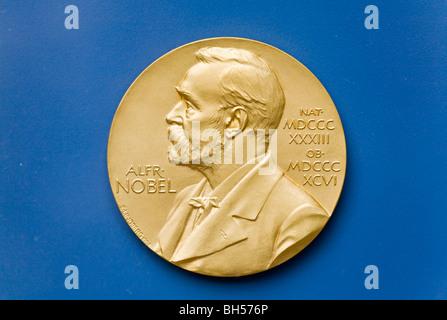Nobel prize medal front - Stock Photo
