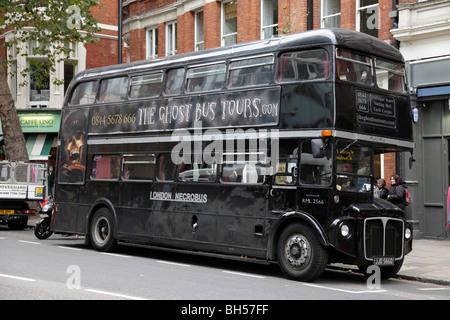 london necrobus offering ghost tours near trafalgar square london uk - Stock Photo