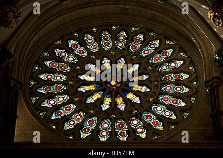 Interior shot of the Rose Window of York Minster Abbey, UK - Stock Photo