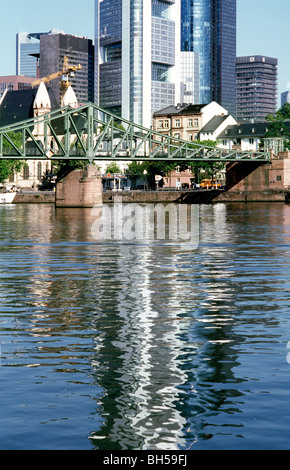 Aug 5, 2009 - View of Eiserner Steg crossing the river Main in the German city of Frankfurt. - Stock Photo