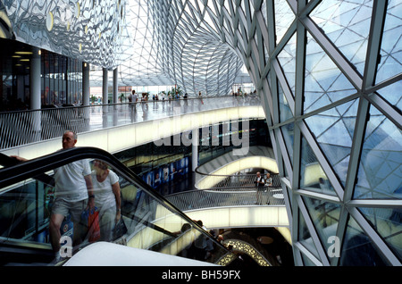 Upper floor of MyZeil shopping mall as part of the Palais Quartier in the German city of Frankfurt. - Stock Photo