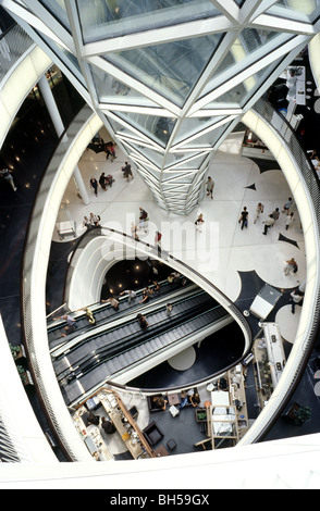 Interior view across several floors of MyZeil shopping mall as part of the Palais Quartier in the German city of - Stock Photo