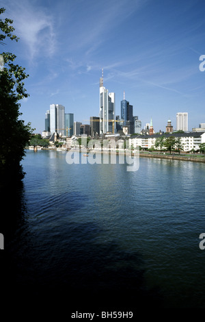 Aug 23, 2009 - Skyline of the German city of Frankfurt am Main. - Stock Photo