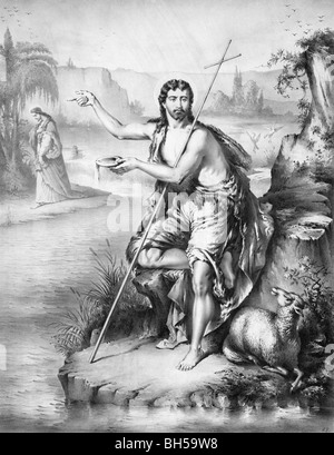 Portrait print circa 1872 of John the Baptist on the banks of the River Jordan with Jesus Christ in the background. - Stock Photo