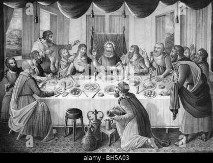 Print circa 1835 showing the Last Supper of Jesus Christ and his disciples as depicted in the Gospels. - Stock Photo