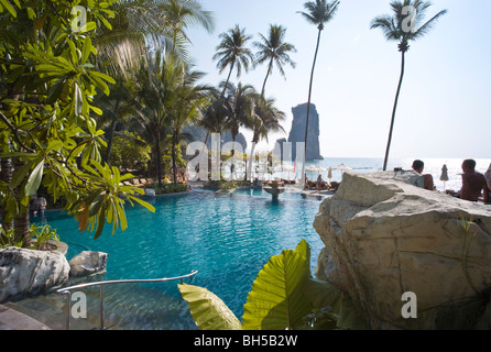 View From a Luxurious Resort Overlooking the Swimming Pools and Sea, Krabi, Thailand - Stock Photo